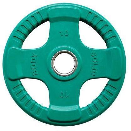 Body-Solid Gekleurde Olympische Rubber Halterschijf - Groen - 10 kg