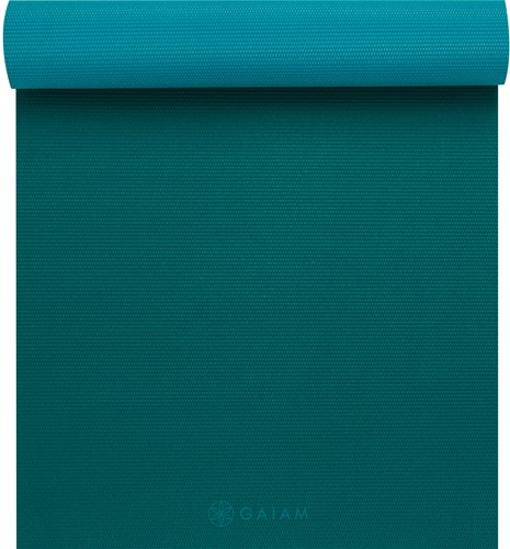 Gaiam 2-Color Yoga Mat - 4 mm - Turquoise Sea