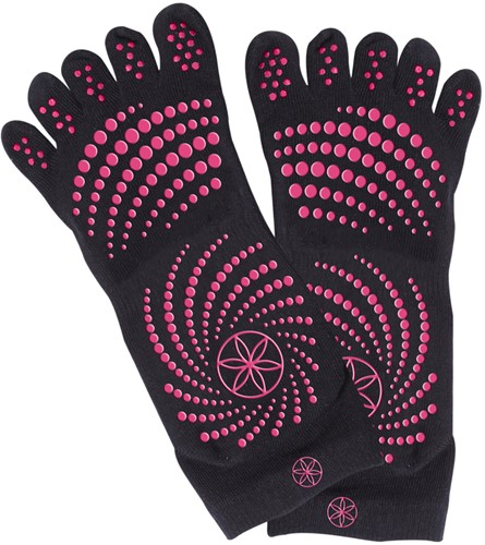 Gaiam Grippy Yoga Socks - Anti-slip Yogasokken - Zwart / Roze