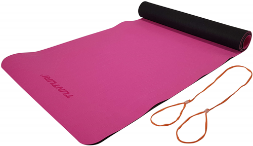 Tunturi TPE Yogamat - Fitnessmat - 183 x 61 x 0,4 cm - Zwart / Roze