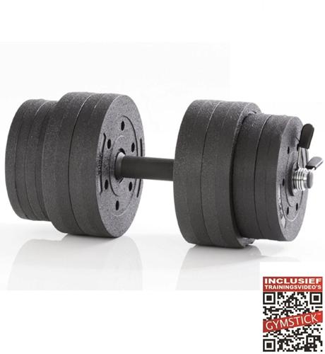 Gymstick Active Verstelbare Dumbbell Set - Vinyl - 15 kg - Met Online Trainingsvideo's