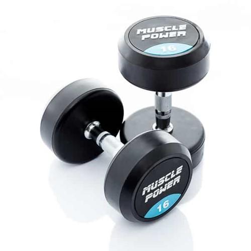 Muscle Power Ronde Rubberen Dumbbell - Per Stuk - 14 kg