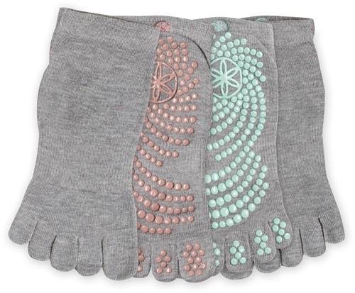 Gaiam Grippy Yoga Socks - Anti-slip Yogasokken - 2-Pack - Mint