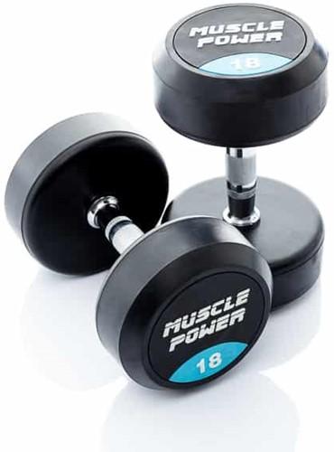 Muscle Power Ronde Rubberen Dumbbell - Per Stuk - 16 kg