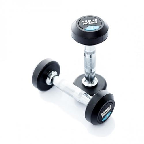 Muscle Power Ronde Rubberen Dumbbell - Per Stuk - 2 kg