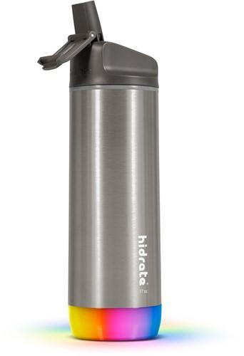 Hidrate Spark Steel Smart Waterfles - 500 ml - Straw - Brushed Stainless Steel