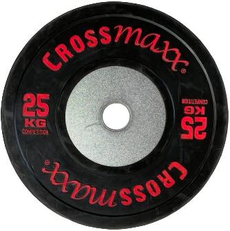 Lifemaxx Crossmaxx Competition Bumper Plate - Halterschijf - Zwart -  50 mm - 25 kg