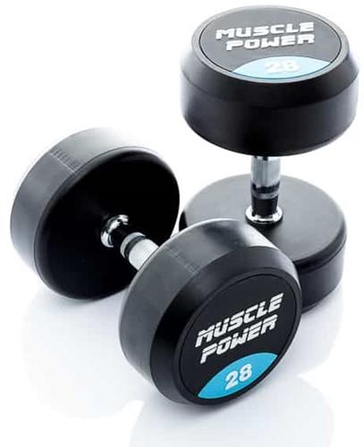 Muscle Power Ronde Rubberen Dumbbell - Per Stuk - 28 kg