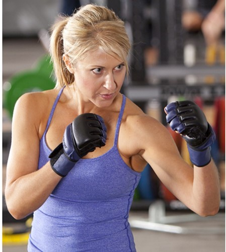Harbinger womens wristwrap bag fitness handschoenen sfeerfoto
