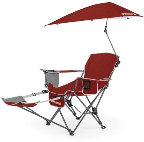 Sport-Brella Verstelbare Campingstoel - Strandstoel met Parasol - Rood
