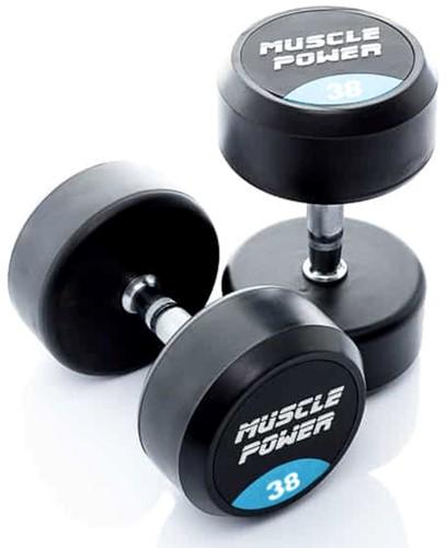 Muscle Power Ronde Rubberen Dumbbell - Per Stuk - 38 kg