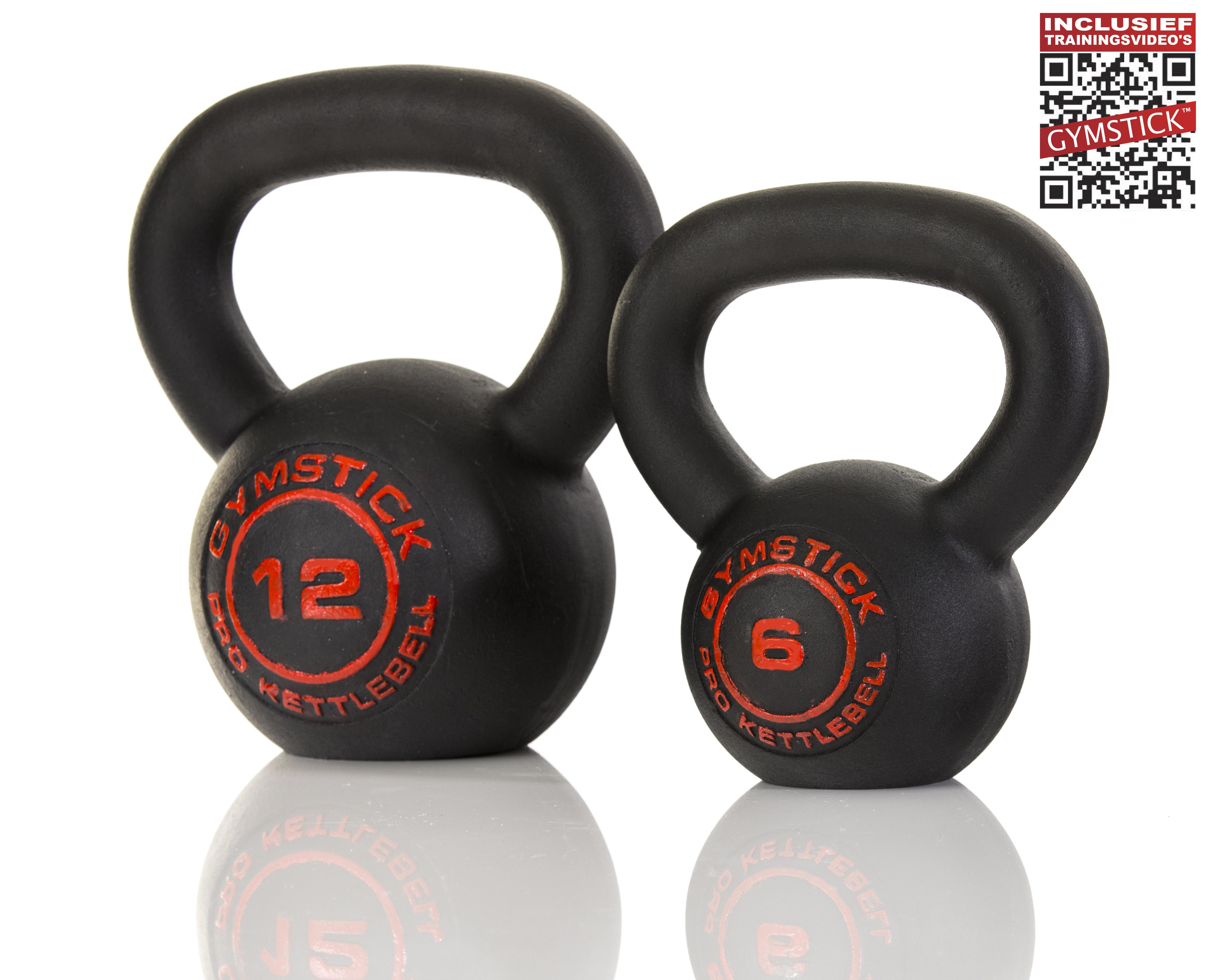 Gymstick Pro Neopreen Kettlebell - Met Online Trainingsvideo's - Zwart - 24 kg