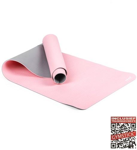 Gymstick Vivid Yoga Mat - 170 x 60 x 0,4 cm - Roze / Grijs - Met Online Trainingsvideo's