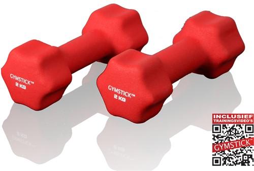 Gymstick Neopreen Dumbell Set 2 Kg met Trainingsvideo