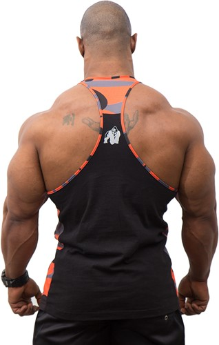 Gorilla Wear Sacramento Camo Mesh Tank Top - Black/Neon Orange-3