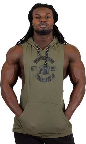 Gorilla Wear Lawrence Hooded Tank Top - Army Green-2