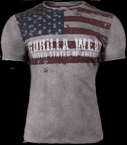 Gorilla Wear USA Flag T-Shirt - Grijs