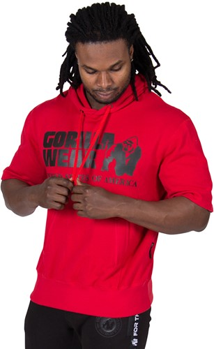 Gorilla Wear Boston Short Sleeve Hoodie - Red - Black Logo-2
