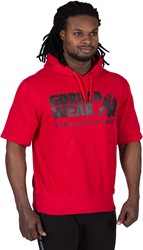 Gorilla Wear Boston Short Sleeve Hoodie - Red - Black Logo