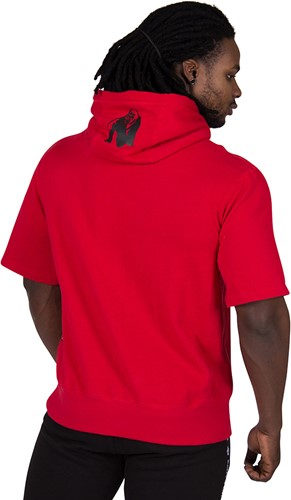 Gorilla Wear Boston Short Sleeve Hoodie - Red - Black Logo-3