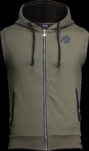 Gorilla Wear Springfield Sleeveless Zipped Hoodie - Legergroen