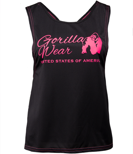 Gorilla Wear Odessa Cross Back Tank Top - Zwart/Roze