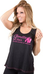 Gorilla Wear Odessa Cross Back Tank Top - Black/Pink