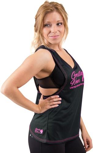 Gorilla Wear Odessa Cross Back Tank Top - Black/Pink-3