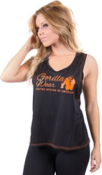 Gorilla Wear Odessa Cross Back Tank Top - Black/Neon Orange