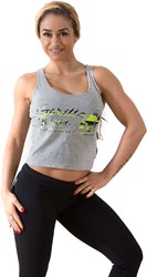 Gorilla Wear Oakland Crop Tank Gray/Neon Lime Camo