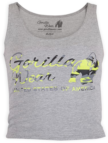 Gorilla Wear Oakland Crop Tank Gray/Neon Lime Camo-2