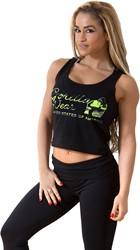Gorilla Wear Oakland Crop Tank Black/Neon Lime Camo