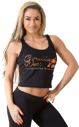 Gorilla Wear Oakland Crop Tank Black/Neon Orange Camo