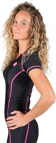 Gorilla Wear Carlin Compression Short Sleeve Top - Black/Pink-2