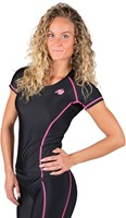 Gorilla Wear Carlin Compression Short Sleeve Top - Black/Pink-3