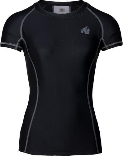 Gorilla Wear Carlin Compression Short Sleeve Top - Zwart Grijs