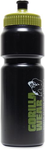 Gorilla Wear Classic Sports Bottle - Zwart/Legergroen 750ML-2