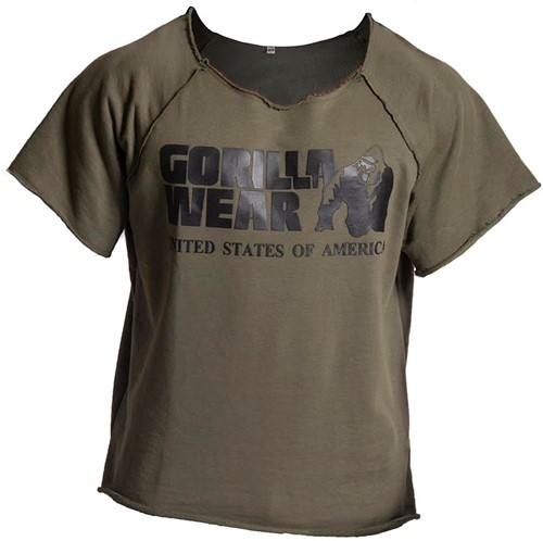 Gorilla wear classic work out top army green front 2