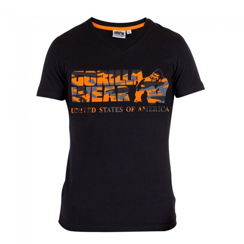 Gorilla Wear Sacramento V-Neck T-Shirt - Black/Neon Orange