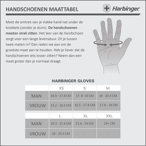 Harbinger Pro WristWrap Fitnesshandschoenen Maattabel