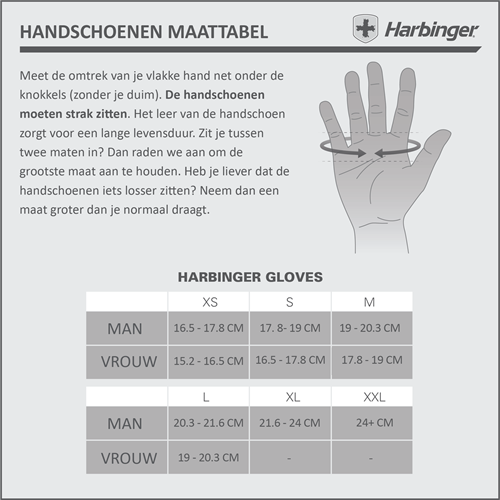 Harbinger Power StretchBack 2 Fitness Handschoenen maattabel