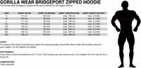 Gorilla Wear Bridgeport Zipped Hoodie maat tabel