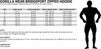 Gorilla Wear Bridgeport Zipped Hoodie maat tabel