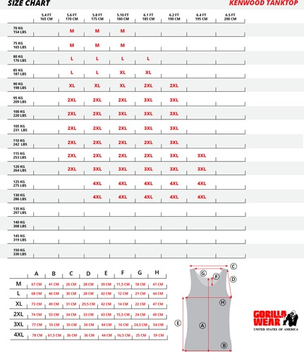 Kenwood tanktop size chart