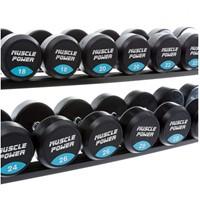 Muscle power dumbbellrek met dumbbells - detail