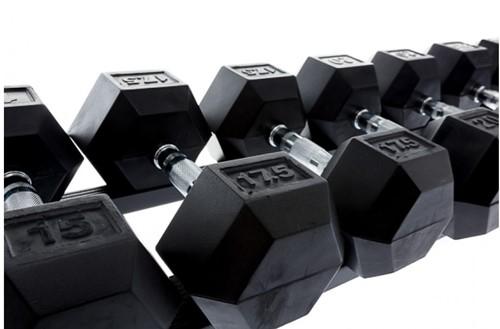 Muscle power dumbbellrek met hexa - detail