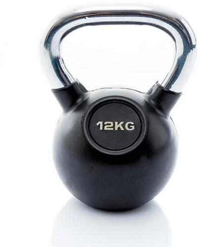 Muscle Power Rubberen Kettlebell - Zwart - 12 kg