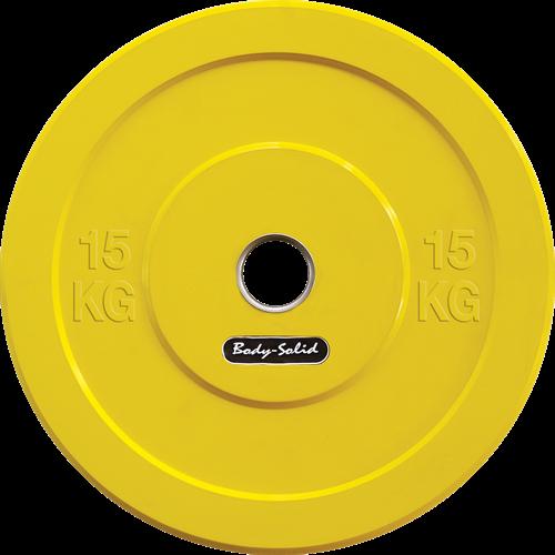 Body-Solid Olympic Bumper Plate - Halterschijf - Geel - 15 kg