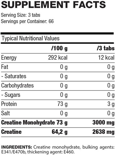 QNT Creatine Monohydrate Tabs 200-2