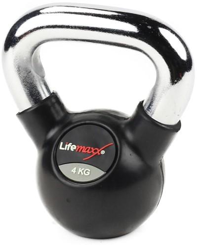 Lifemaxx Rubberen Kettlebell -  met Chromen Handvat - 8 kg